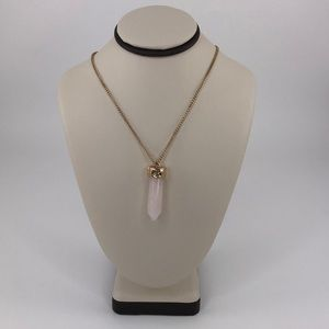 BaubleBar Crystal Long Drop Gold Tone Necklace